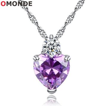 """2018 New Red Purple Crystal Zircon Stone Love Heart Pendant Necklace Women Trendy Neck Choker Jewelry 45cm 18"""" Chains for Female"""