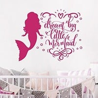 Dream Big Little Mermaid Wall Decal Quote. Mermaid Wall Stickers. Mermaid Quote Decals. Mermaid Wall Art. Girls Room Nursery Bedroom Decor. NV265