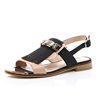River Island Womens Black tassel front slingback sandals