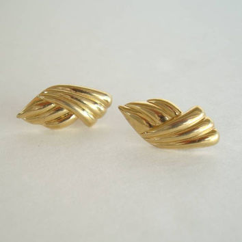 Monet Petite Crossed Ribbons Post Earrings Goldtone Jewelry
