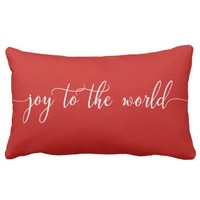 Joy to the World Christmas Pillow Modern Script