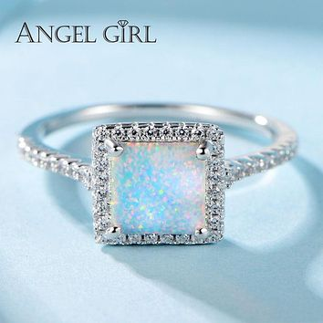 Angel Girl White Opal Ring Silver 925 Woman Square Office Career Party Ring For Girls Sterling-Silver-Jewelry New S-R0060-WW-O
