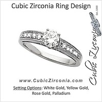 Cubic Zirconia Engagement Ring- The Lindy (0.67 Carat TCW Round-Cut 15-stone)