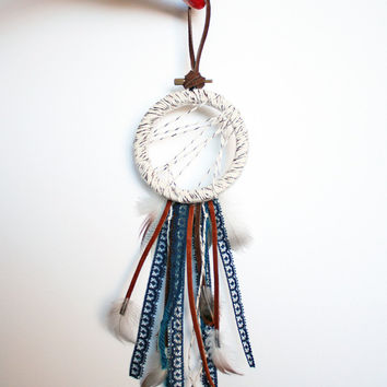 Small White Dreamcatcher - Bohemian Gift Ideas for Girls - Present Tie On - Boho Dream Catcher - Handmade Boho Home Decor -Boho Wall Hanging