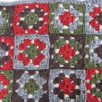 Granny Square Blanket Newborn Photography Prop - Brown, Gray, Green, and Red Small Bed-Sized Crochet Quilt