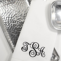 Monogrammed Embroidered Cloth Napkins Ella Scroll / Set of 4 / personalized gift, monogram, wedding linens, embroidered napkins, script