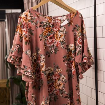 Floral Layered Ruffle Sleeve Top, Dusty Rose