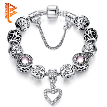 Valentine's Jewelry Gift 925 Spacer Silver Heart Charm Bracelet European Pink Crystal Bead Charm Fit Original Bracelet for Women