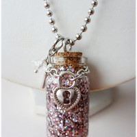 Pixie Dust Necklace Small Glass Bottle Pendant with Lock by gatumi