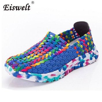 EISWELT Women Shoes Female Loafers Women Casual Flat Summer Flats Woven Shoes Slip On
