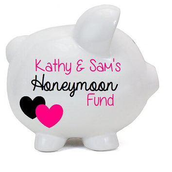 Honeymoon Fund Personalized Piggy Bank