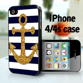 Soft navy and white stripes with gold anchor     by DanazDesigns