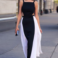 Sleeveless Backless Side Pleated Maxi Dress