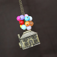Necklace,Flying House Necklace,Up balloons necklace,Beadwork Necklace ,Flying House,Flying Dreams,Up Movie Necklace