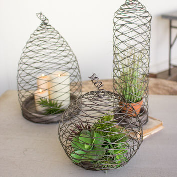 Set Of Three Wild Wire Cloches With Clay Bases