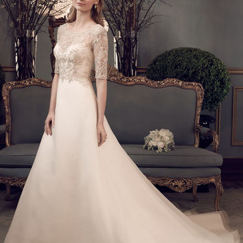 Casablanca Bridal 2162 3/4 Beaded Sleeve A-Line Wedding Dress