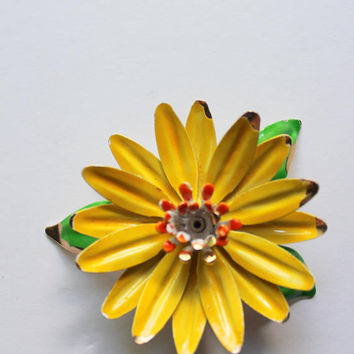 Vintage MOD Yellow Flower Brooch 1960s