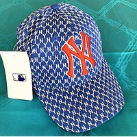 NY Fashion New Embroidery Letter More Letter Print Sunscreen Travel Women Men Cap Hat Blue