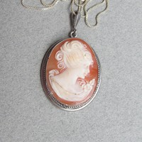 Antique Edwardian Sterling Silver Carved Shell Cameo Pendant Necklace