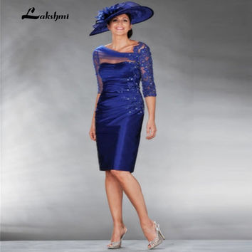 Sexy See Through Corset Royal Blue Mother of the Bride Dresses with Sleeves 2017 Beaded Lace Groom Gown vestido de madrinha