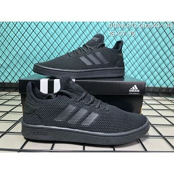 HCXX A025 Adidas 2018 Stan Smith Breathable Mesh Causal Running Shoes All Black