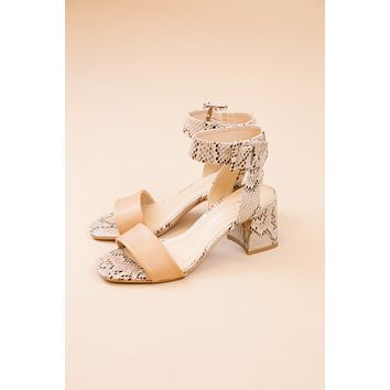 Beach Side Ankle Strap Sandal, Nude Snake | CL by Laundry