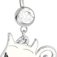 14g Surgical Steel White Sassy Cat Jeweled Dangle Belly Button Ring