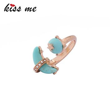 KISS ME Brand Blue Synthetic Stone Moon Star Ring 2017 New Rings for Women Fashion Jewelry Accessories
