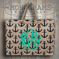 Monogrammed Large Navy Anchor Print Jute Tote  Font shown MASTER CIRCLE in pool