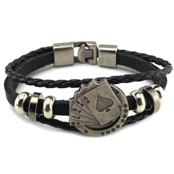 Mibrow Fashion Black/Brown Braided Leather Bracelet for Men Layered Poker Cards Leather Charm Bracelets Men Punk Jewelry