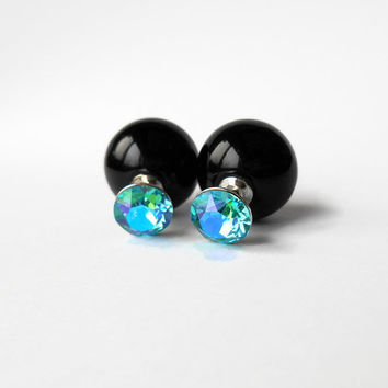 Double sided earrings, Sterling silver earring posts, Many colors