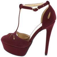 SASSY08 BURGUNDY CUT OUT T-STRAP PLATFORM HEEL