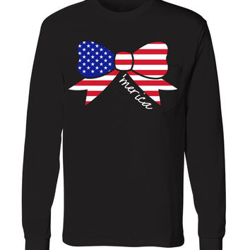 Ladies 'Merica Bow' Long Sleeve Tee