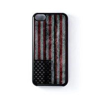 United States Flag on Grunge Wood Black Hard Plastic Case for iPhone 5C by World Flags