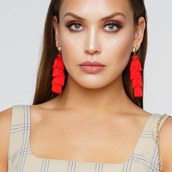 High Fringe Earrings - Red