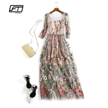Fitaylor New Spring Women Elegant Party Dress Gorgeous Half Sleeves O Neck Sheer Mesh Embroidery Boho Floral Long Dress