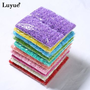 Luyue 144 PCS Artificial Foam Rose Flowers DIY Parts Hair Bands Ornaments wreath Wedding Simulation Garland Home Decoration