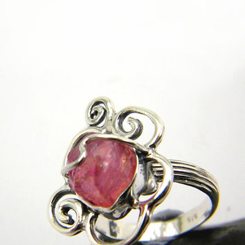 Sterling silver ruby ring, rough ruby gemstone, raw stone purplish pink, spiral design, statement ring, July birthstone, ring size 6.5