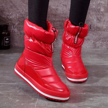 Red Rain Shoes Women Snow Boots Winter Down Platform Boots Zipper Warm Ankle Boots For Women Plush Insole Shoes Botas Feminina