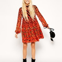 ASOS Skater Dress with Funnel Neck in Border Poppy Print
