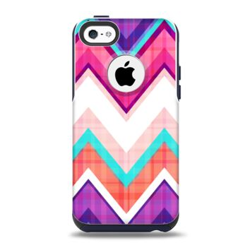 The Vibrant Teal & Colored Chevron Pattern V1 Apple iPhone 5c Otterbox Commuter Case Skin Set