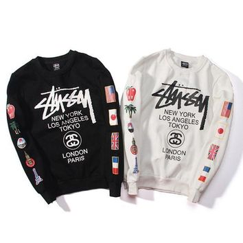 Round Neck Stussy Pullover Hoodies Couple Jacket [103865352204]