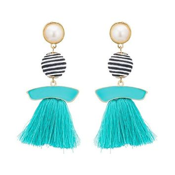 Multicolor Ball Pendant Tassel Earrings For Women Vintage Ethnic Handmade Long Dangle Chandelier Earring Patry Jewelry
