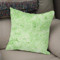 «Pastel green and white swirls doodle», Numbered Edition Coussin by Savousepate - From 25€ - Curioos