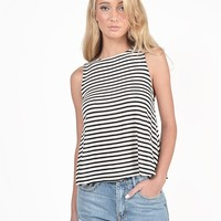 Striped Ribbed Flowy Tank