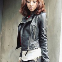 Black Women Side Zipper Leather Jacket@XYZ4937