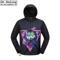 2017 New Brand Clothing Summer Autumn 3D Print Animal Thin Hiphop Trench With Zipper Coat For Men Windbreaker Veste Homme