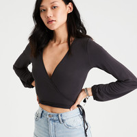 AE Soft & Sexy Long Sleeve Wrap Front T-Shirt , Gray
