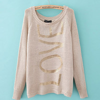 A 082008 Gilt letters printed pullover sweater