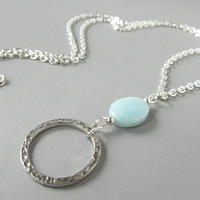 Silver Lanyard for Women with Amazonite